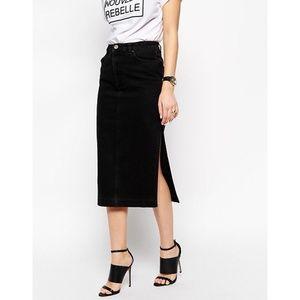 ASOS Black Denim Midi Skirt w/ Slit